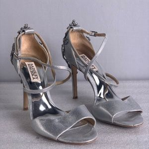 BADGLEY MISCHKA Leather Metallic Evening heels